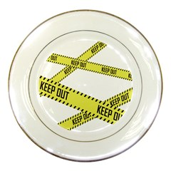 Keep Out Police Line Yellow Cross Entry Porcelain Plates