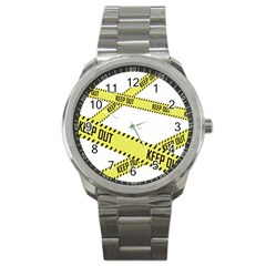 Keep Out Police Line Yellow Cross Entry Sport Metal Watch