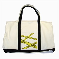 Keep Out Police Line Yellow Cross Entry Two Tone Tote Bag