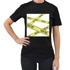 Keep Out Police Line Yellow Cross Entry Women s T-Shirt (Black)