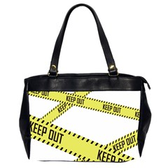 Keep Out Police Line Yellow Cross Entry Office Handbags (2 Sides)