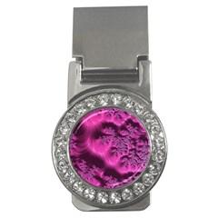 Fractal Artwork Pink Purple Elegant Money Clips (CZ)