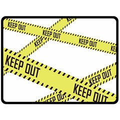 Keep Out Police Line Yellow Cross Entry Fleece Blanket (Large)