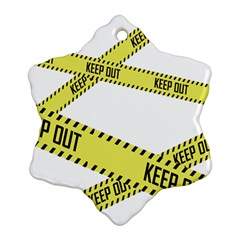 Keep Out Police Line Yellow Cross Entry Snowflake Ornament (two Sides)