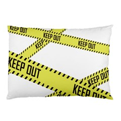 Keep Out Police Line Yellow Cross Entry Pillow Case (two Sides)