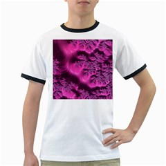 Fractal Artwork Pink Purple Elegant Ringer T-Shirts