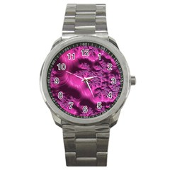 Fractal Artwork Pink Purple Elegant Sport Metal Watch