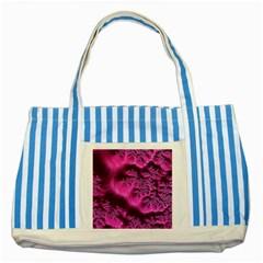 Fractal Artwork Pink Purple Elegant Striped Blue Tote Bag