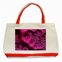 Fractal Artwork Pink Purple Elegant Classic Tote Bag (red)