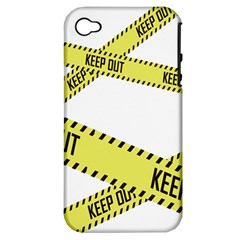 Keep Out Police Line Yellow Cross Entry Apple iPhone 4/4S Hardshell Case (PC+Silicone)