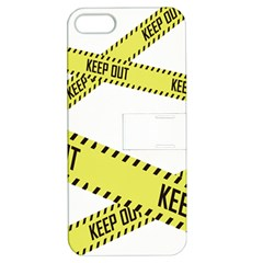 Keep Out Police Line Yellow Cross Entry Apple Iphone 5 Hardshell Case With Stand