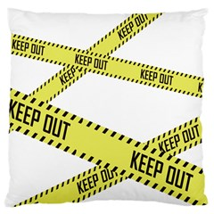 Keep Out Police Line Yellow Cross Entry Large Flano Cushion Case (One Side)