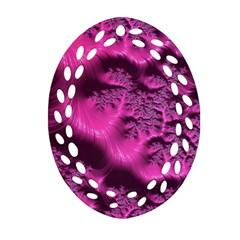 Fractal Artwork Pink Purple Elegant Oval Filigree Ornament (two Sides)