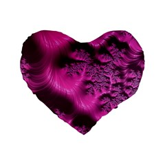 Fractal Artwork Pink Purple Elegant Standard 16  Premium Heart Shape Cushions