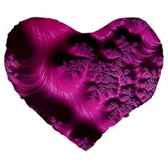 Fractal Artwork Pink Purple Elegant Large 19  Premium Heart Shape Cushions