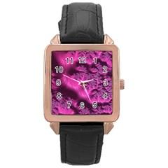 Fractal Artwork Pink Purple Elegant Rose Gold Leather Watch