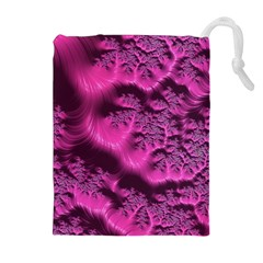 Fractal Artwork Pink Purple Elegant Drawstring Pouches (extra Large)