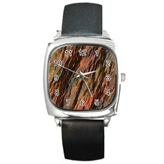 Texture Stone Rock Earth Square Metal Watch