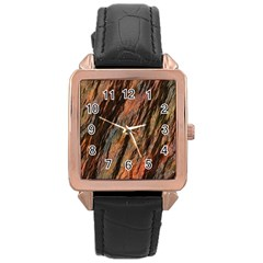 Texture Stone Rock Earth Rose Gold Leather Watch
