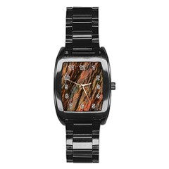Texture Stone Rock Earth Stainless Steel Barrel Watch