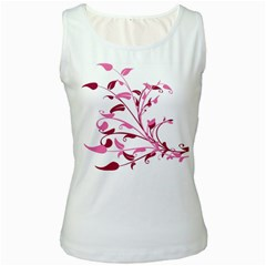 Leaf Pink Floral Women s White Tank Top