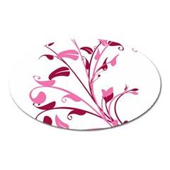 Leaf Pink Floral Oval Magnet