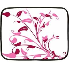 Leaf Pink Floral Fleece Blanket (Mini)