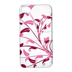 Leaf Pink Floral Apple iPhone 4/4S Hardshell Case with Stand