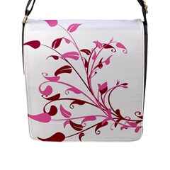 Leaf Pink Floral Flap Messenger Bag (L)