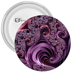Purple Abstract Art Fractal Art Fractal 3  Buttons