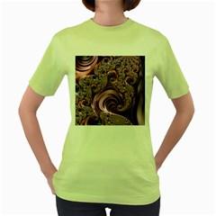 Purple Abstract Art Fractal Art Fractal Women s Green T Shirt