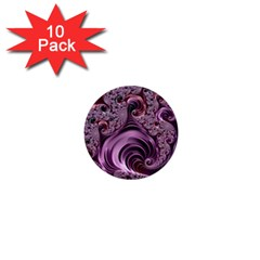 Purple Abstract Art Fractal Art Fractal 1  Mini Buttons (10 Pack)