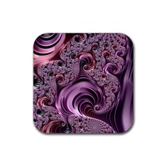 Purple Abstract Art Fractal Art Fractal Rubber Square Coaster (4 Pack)