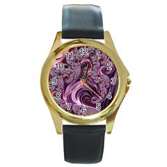 Purple Abstract Art Fractal Art Fractal Round Gold Metal Watch