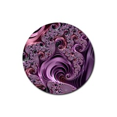 Purple Abstract Art Fractal Art Fractal Rubber Round Coaster (4 Pack)