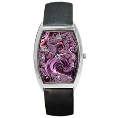 Purple Abstract Art Fractal Art Fractal Barrel Style Metal Watch