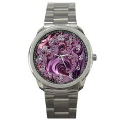 Purple Abstract Art Fractal Art Fractal Sport Metal Watch