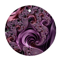 Purple Abstract Art Fractal Art Fractal Round Ornament (two Sides)