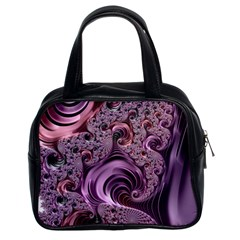 Purple Abstract Art Fractal Art Fractal Classic Handbags (2 Sides)