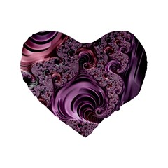 Purple Abstract Art Fractal Art Fractal Standard 16  Premium Heart Shape Cushions