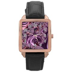 Purple Abstract Art Fractal Art Fractal Rose Gold Leather Watch