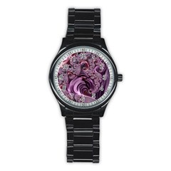 Purple Abstract Art Fractal Art Fractal Stainless Steel Round Watch