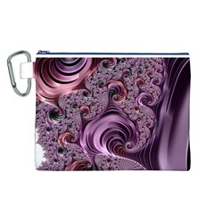 Purple Abstract Art Fractal Art Fractal Canvas Cosmetic Bag (l)