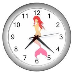 Mermaid Illustrator Beach Fish Sea Pink Red Wall Clocks (silver)