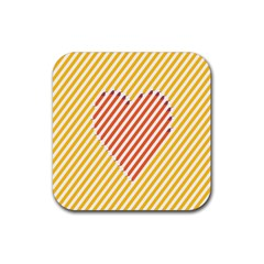 Little Valentine Pink Yellow Rubber Coaster (square)
