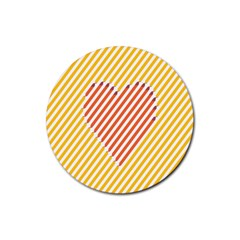 Little Valentine Pink Yellow Rubber Round Coaster (4 pack)