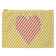 Little Valentine Pink Yellow Cosmetic Bag (xxl)