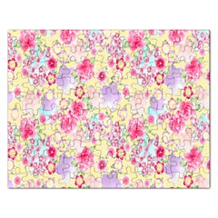 Flower Arrangements Season Floral Pink Purple Star Rose Rectangular Jigsaw Puzzl