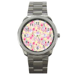 Flower Arrangements Season Floral Pink Purple Star Rose Sport Metal Watch