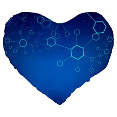 Molecules Classic Medicine Medical Terms Comprehensive Study Medical Blue Large 19  Premium Flano Heart Shape Cushions